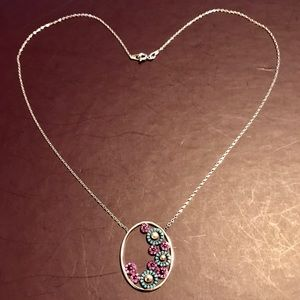 OVAL OPENWORK PENDANT W TURQUOISE➕RUBIES NECKLACE